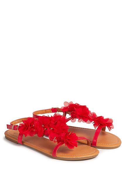 Seventyseven Lifestyle Damen Schuh Sandale Kunstleder Deko Tüll Blumen mit Strass rot
