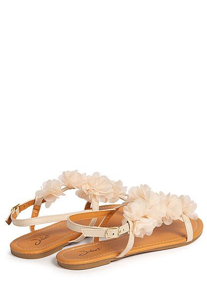 Seventyseven Lifestyle Damen Schuh Sandale Kunstleder Deko Tüll Blumen mit Strass beige