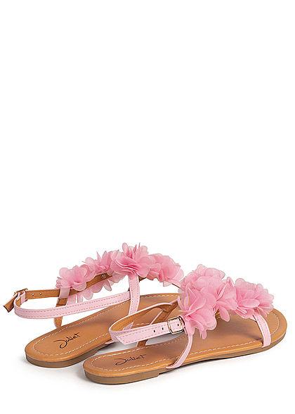 Seventyseven Lifestyle Damen Schuh Sandale Kunstleder Deko Tüll Blumen mit Strass rosa