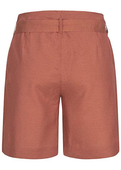ONLY Damen Long Canvas Shorts inkl. Bindegürtel 2-Pockets Knopfleiste apple butter rot