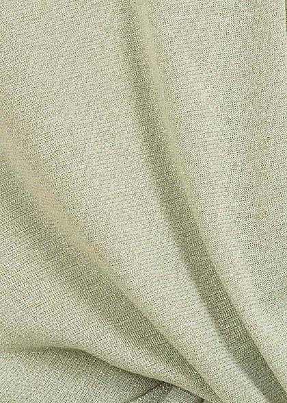 ONLY Damen Lurex T-Shirt mit Knotendetail vorne Glitzer Allover aqua foam grün
