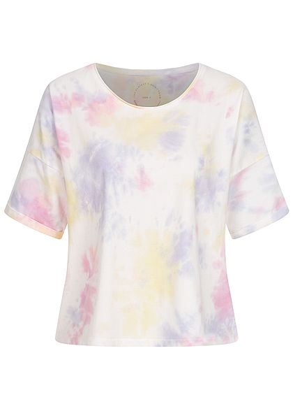 ONLY Damen Oversized Cropped T-Shirt Farbverlauf Vokuhila weiss multicolor
