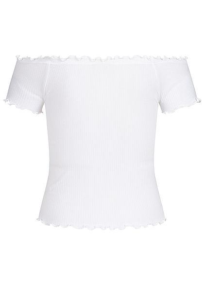 ONLY Damen Cropped Ribb Frill T-Shirt weiss