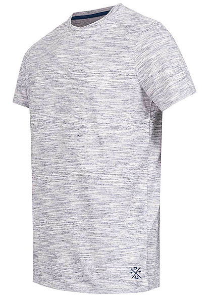 Tom Tailor Herren Melange T-Shirt Streifen navy rose