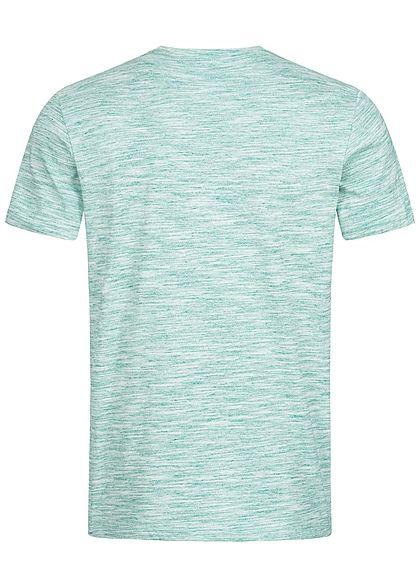 Tom Tailor Herren Melange T-Shirt Streifen grün weiss