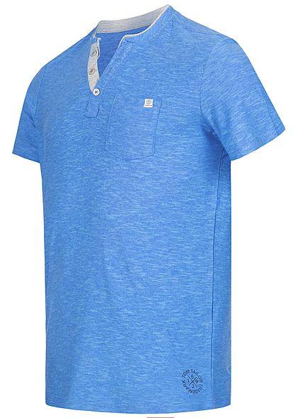 Tom Tailor Herren V-Neck T-Shirt mit Brusttasche feine Streifen estate navy blau