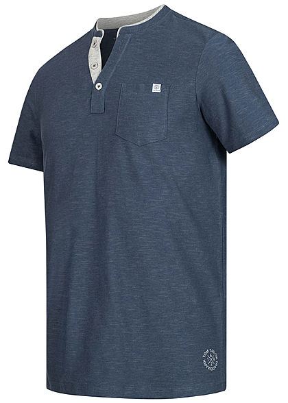 Tom Tailor Herren V-Neck T-Shirt mit Brusttasche feine Streifen dunkel blau grau