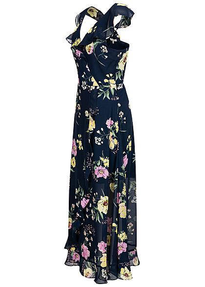 Tom Tailor Damen V-Neck Maxi Volant Wickelkleid 2-lagig Blumen Print navy blau rosa