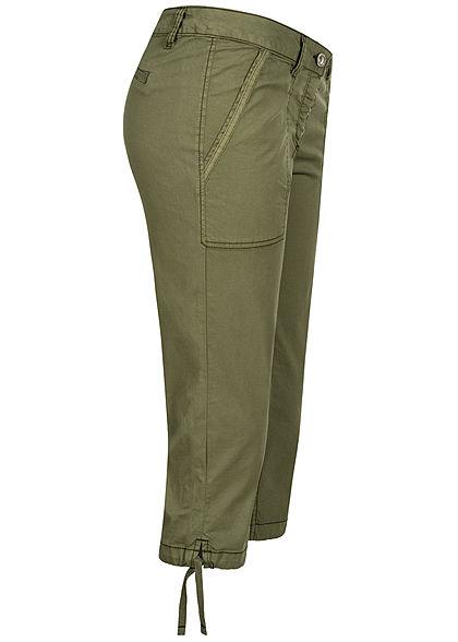 Tom Tailor Damen 3/4 Relaxed Shorts 2-Pockets Schnüre am Beinsaum deep fresh oliv grün
