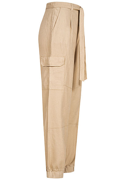 Tom Tailor Damen Cargo Hose Relaxed Fit Bindegürtel 4-Pockets dunkel beige