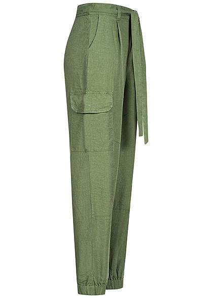Tom Tailor Damen Cargo Hose Relaxed Fit Bindegürtel 4-Pockets oliv grün
