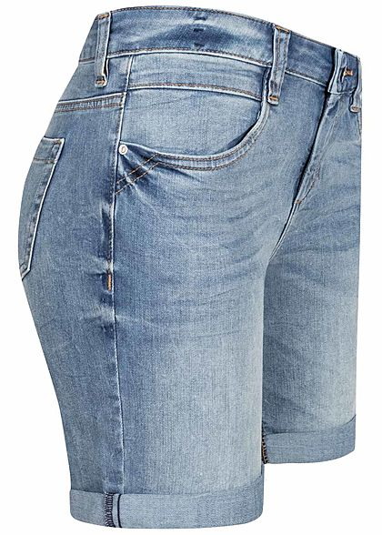 Tom Tailor Damen Bermuda Jeans Shorts 4-Pockets Slim Fit hell blau denim