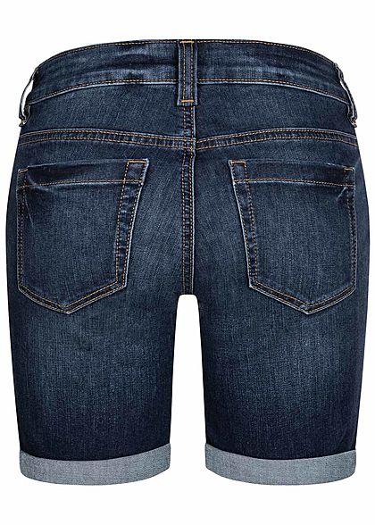 Tom Tailor Damen Bermuda Jeans Shorts 4-Pockets Slim Fit dunkel blau denim