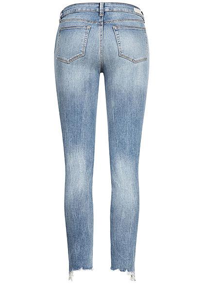 Tom Tailor Damen Ankle Jeans Hose Extra Skinny 5-Pockets Fransen used stone blau denim