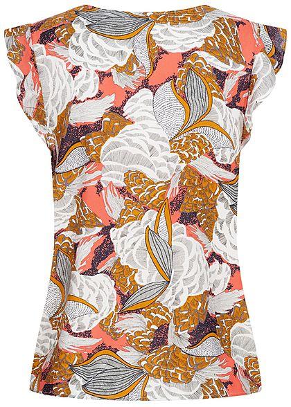 ONLY Damen V-Neck Blusen Top Volantärmel Floraler Print terra cotta rose mc