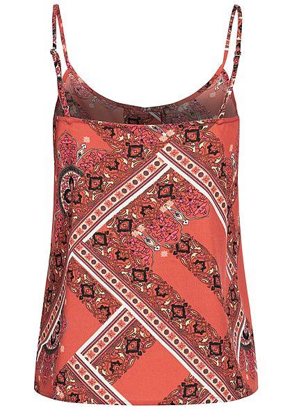 ONLY Damen Träger Top mit Knopfleiste Athena Azteken Print hot sauce rot