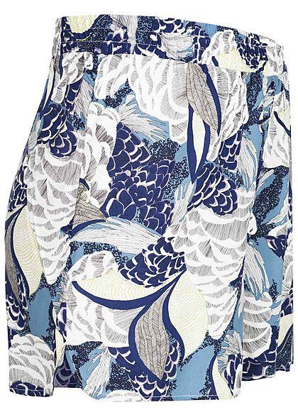 ONLY Damen leichte Sommer Shorts Floraler Print faded denim blau weiss