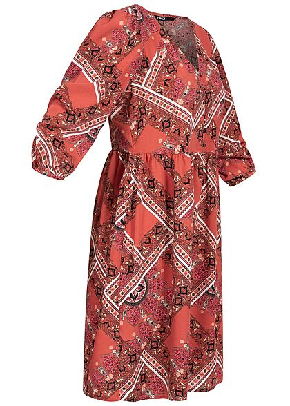 ONLY Damen 3/4 Arm V-Neck Puffer Kleid Knopfleiste Athen Azteken Print hot sauce rot