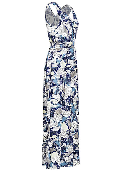 ONLY Damen V-Neck Maxi Kleid Taillengummizug Floraler Print faded denim blau weiss