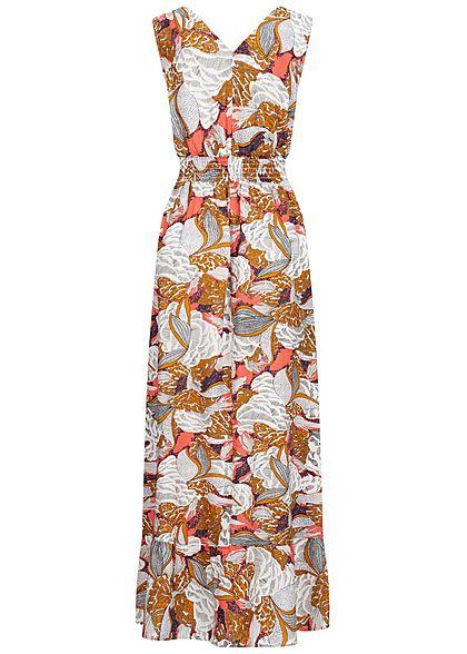ONLY Damen V-Neck Maxi Kleid Taillengummizug Floraler Print terra cotta rose mc