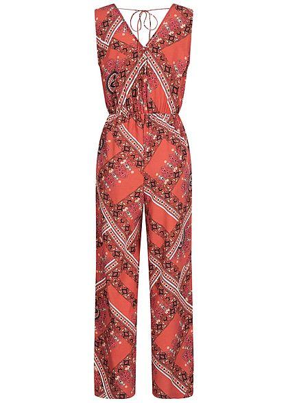 ONLY Damen V-Neck Jumpsuit weiter Schnitt Wickeloptik Aztek Print hot sauce rot