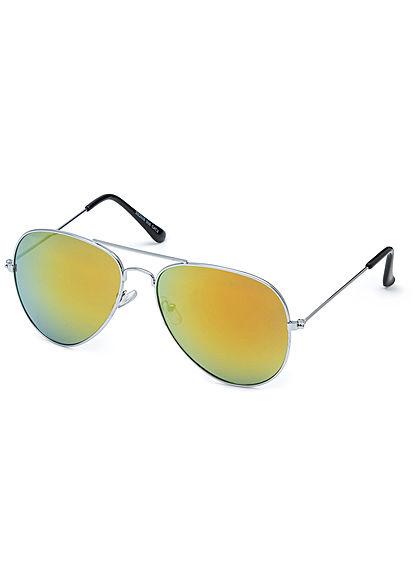 Seventyseven Lifestyle Unisex Sonnenbrille Pilotenstyle UV-400 Cat.3 silber gelb