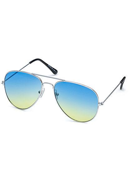Seventyseven Lifestyle Unisex Sonnenbrille Pilotenstyle UV-400 Cat.3 silber blau gelb