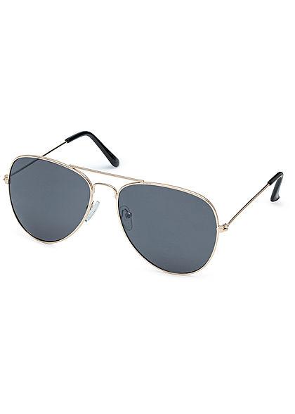 Seventyseven Lifestyle Unisex Sonnenbrille Pilotenstyle UV-400 Cat.3 gold schwarz