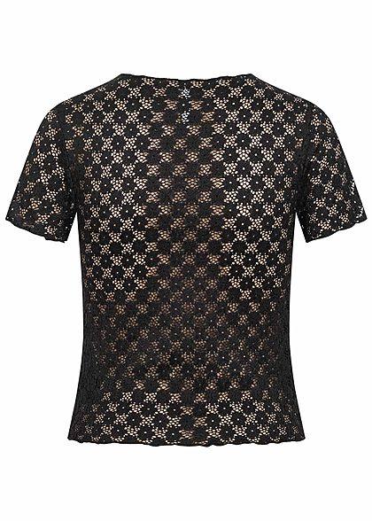 Hailys Damen kurzes Spitzen Shirt Lochmuster schwarz