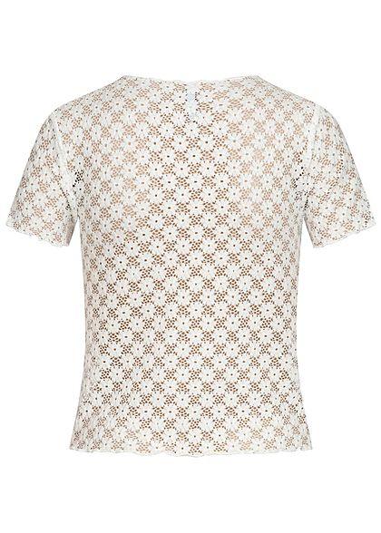 Hailys Damen kurzes Spitzen Shirt Lochmuster weiss