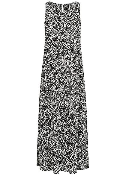 Hailys Damen Maxi Kleid Floraler Print schwarz weiss