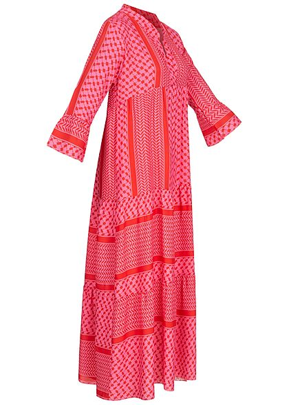 Fresh Lemons Damen V-Neck Maxi Puffer Kleid Allover Print pink