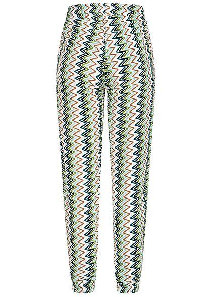 Hailys Damen Sommer Hose 2-Pockets Deko Tunnelzug Zick Zack Print multicolor
