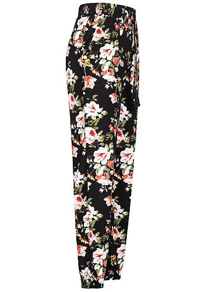 Hailys Damen Sommer Hose 2-Pockets Deko Tunnelzug Blumen Print schwarz mc