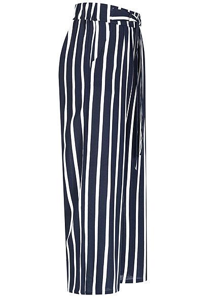 Hailys Damen 3/4 Sommerhose 2-Pockets Bindedetail vorne Streifen Muster navy weiss