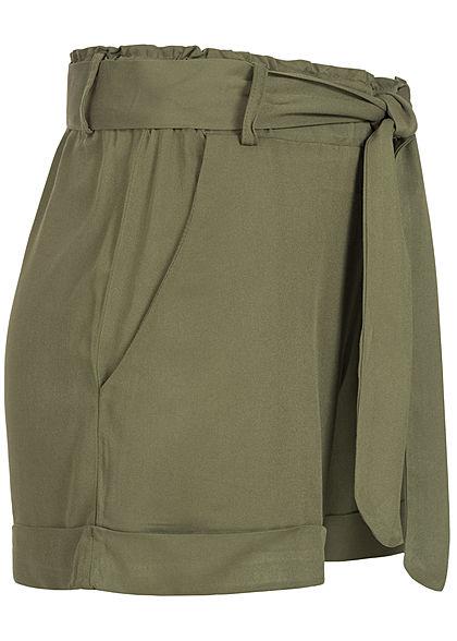 Hailys Damen Shorts 2-Pockets inkl. Bindegürtel Beinumschlag khaki grün