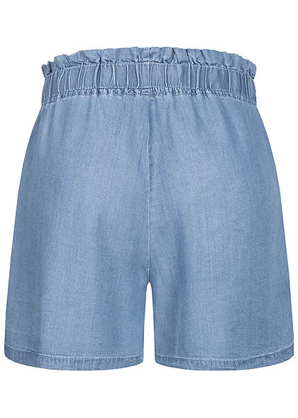 Hailys Damen Paperbag Shorts 2-Pockets Bindedetail vorne medium blau denim