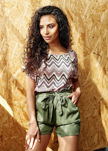 Hailys Damen Paperbag Shorts 2-Pockets Bindedetail vorne khaki grün