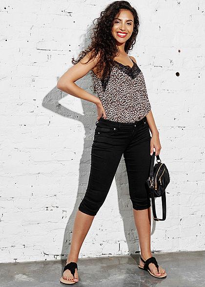 Hailys Damen Capri Jeans Hose Shorts 5-Pockets Low Waist schwarz denim