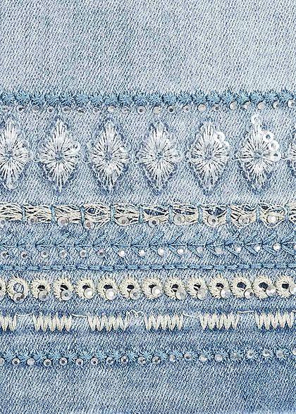 Hailys Damen Jeans Rock mit Fransen Strasssteinen 5-Pockets hell blau denim