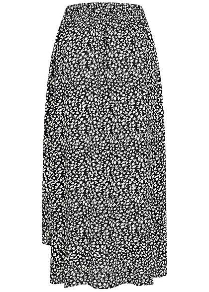 Hailys Damen Longform Rock Vokuhila Floraler Print Gummibund schwarz weiss