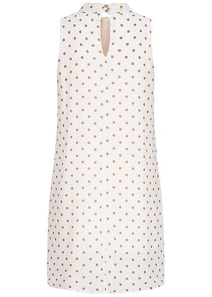 Fresh Lemons Damen Choker Mini Chiffon Kleid Schleife Punkte Muster 2-lagig weiss