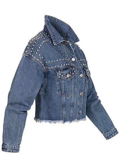 Hailys Damen kurze Jeans Jacke Deko Perlen & Fransen 2-Pockets medium blau denim