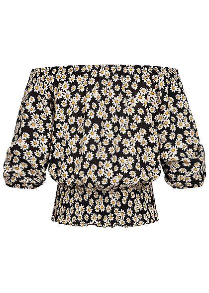Hailys Damen Off-Shoulder 3/4 Arm Krepp Shirt Blumen Print schwarz weiss gelb