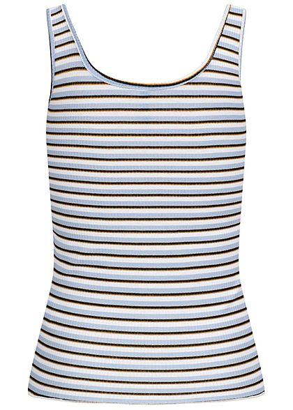 Hailys Damen Ribbed Frill Tank Top Deko Knopfleiste Streifen Muster blau