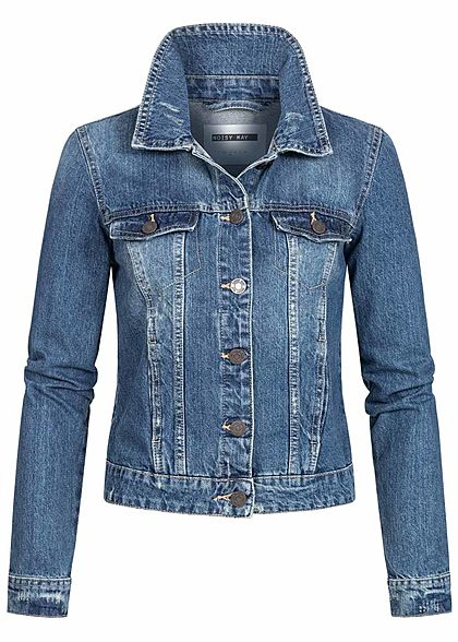 Noisy May Damen NOOS Jeans Jacke 4-Pockets leichter Crash Look medium blau denim - Art.-Nr.: 20042014