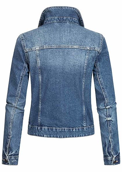 Noisy May Damen NOOS Jeans Jacke 4-Pockets leichter Crash Look medium blau denim