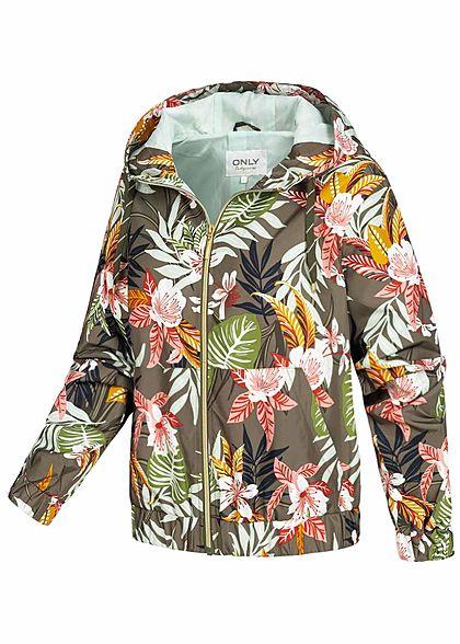 ONLY Damen leichte Frühlings Jacke Kapuze 2-Pockets Tropical Print kalamata oliv