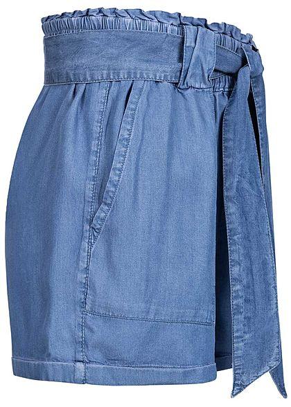 ONLY Damen Paperbag Denim Shorts inkl. Bindegürtel 2-Pockets dunkel blau denim