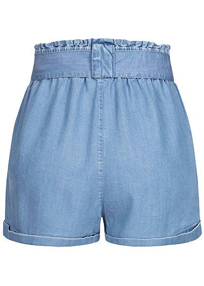 ONLY Damen Paperbag Denim Shorts inkl. Bindegürtel 2-Pockets hell blau denim